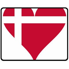 Heart Love Flag Denmark Red Cross Double Sided Fleece Blanket (medium)
