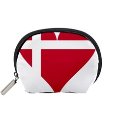Heart Love Flag Denmark Red Cross Accessory Pouches (small)