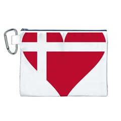 Heart Love Flag Denmark Red Cross Canvas Cosmetic Bag (l)