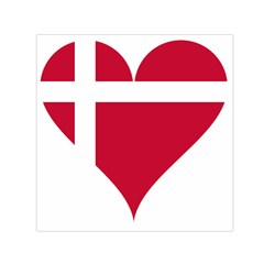 Heart Love Flag Denmark Red Cross Small Satin Scarf (square)