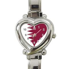 Heart Love Flag Qatar Heart Italian Charm Watch