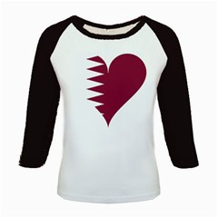 Heart Love Flag Qatar Kids Baseball Jerseys