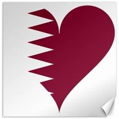 Heart Love Flag Qatar Canvas 20  X 20
