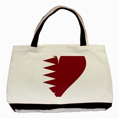 Heart Love Flag Qatar Basic Tote Bag (two Sides)