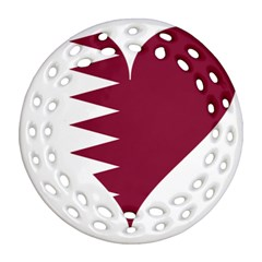 Heart Love Flag Qatar Round Filigree Ornament (two Sides)