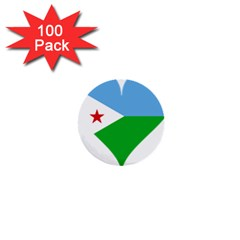 Heart Love Flag Djibouti Star 1  Mini Buttons (100 Pack)