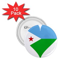 Heart Love Flag Djibouti Star 1 75  Buttons (10 Pack)