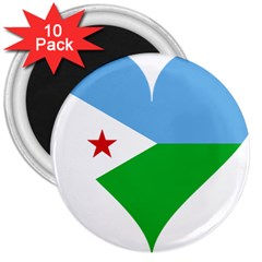 Heart Love Flag Djibouti Star 3  Magnets (10 Pack)
