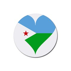 Heart Love Flag Djibouti Star Rubber Round Coaster (4 Pack)