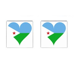 Heart Love Flag Djibouti Star Cufflinks (square)
