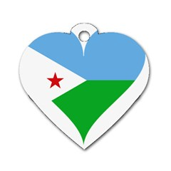 Heart Love Flag Djibouti Star Dog Tag Heart (two Sides)