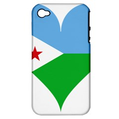 Heart Love Flag Djibouti Star Apple Iphone 4/4s Hardshell Case (pc+silicone)
