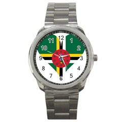 Heart Love Flag Antilles Island Sport Metal Watch