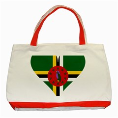Heart Love Flag Antilles Island Classic Tote Bag (red)