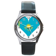 Heart Love Flag Sun Sky Blue Round Metal Watch