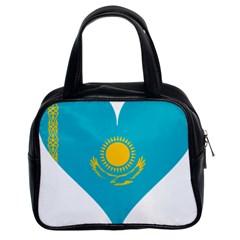 Heart Love Flag Sun Sky Blue Classic Handbags (2 Sides)