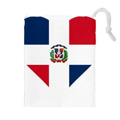 Heart Love Dominican Republic Drawstring Pouches (extra Large)