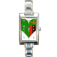 Heart Love Heart Shaped Zambia Rectangle Italian Charm Watch