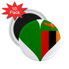 Heart Love Heart Shaped Zambia 2 25  Magnets (10 Pack)