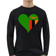Heart Love Heart Shaped Zambia Long Sleeve Dark T Shirts