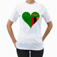 Heart Love Heart Shaped Zambia Women s T Shirt (white)