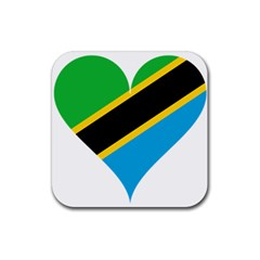 Heart Love Tanzania East Africa Rubber Square Coaster (4 Pack)