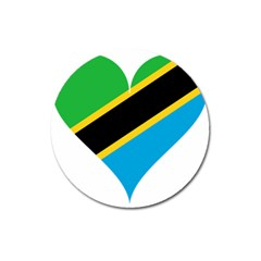 Heart Love Tanzania East Africa Magnet 3  (round)