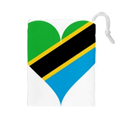 Heart Love Tanzania East Africa Drawstring Pouches (large)