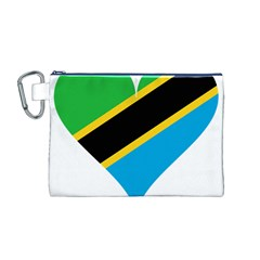 Heart Love Tanzania East Africa Canvas Cosmetic Bag (m)