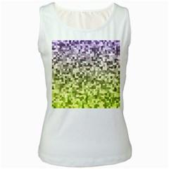 Irregular Rectangle Square Mosaic Women s White Tank Top