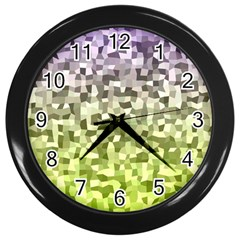 Irregular Rectangle Square Mosaic Wall Clocks (black)