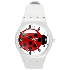 Ladybug Insects Colors Alegre Round Plastic Sport Watch (m)