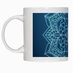 Mandala Floral Ornament Pattern White Mugs
