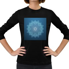 Mandala Floral Ornament Pattern Women s Long Sleeve Dark T Shirts