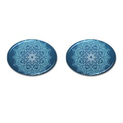Mandala Floral Ornament Pattern Cufflinks (oval)