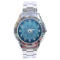 Mandala Floral Ornament Pattern Stainless Steel Analogue Watch