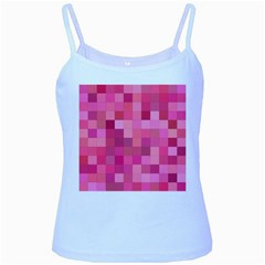 Pink Square Background Color Mosaic Baby Blue Spaghetti Tank
