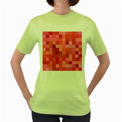Pink Square Background Color Mosaic Women s Green T Shirt