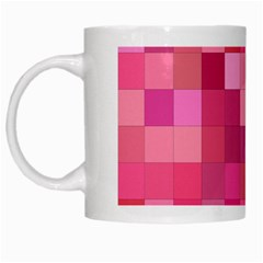 Pink Square Background Color Mosaic White Mugs