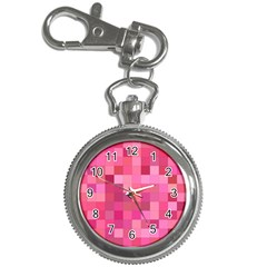 Pink Square Background Color Mosaic Key Chain Watches