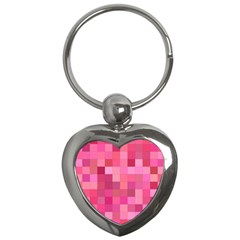 Pink Square Background Color Mosaic Key Chains (heart)