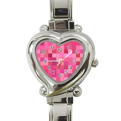 Pink Square Background Color Mosaic Heart Italian Charm Watch