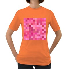 Pink Square Background Color Mosaic Women s Dark T Shirt