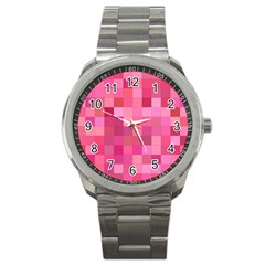 Pink Square Background Color Mosaic Sport Metal Watch