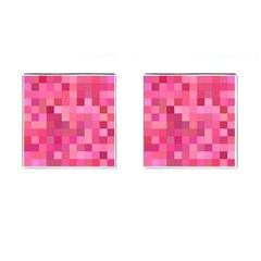 Pink Square Background Color Mosaic Cufflinks (square)