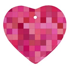 Pink Square Background Color Mosaic Heart Ornament (two Sides)