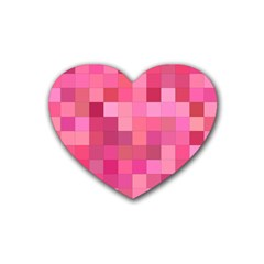 Pink Square Background Color Mosaic Rubber Coaster (heart)