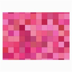 Pink Square Background Color Mosaic Large Glasses Cloth
