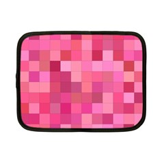 Pink Square Background Color Mosaic Netbook Case (small)