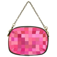 Pink Square Background Color Mosaic Chain Purses (one Side)